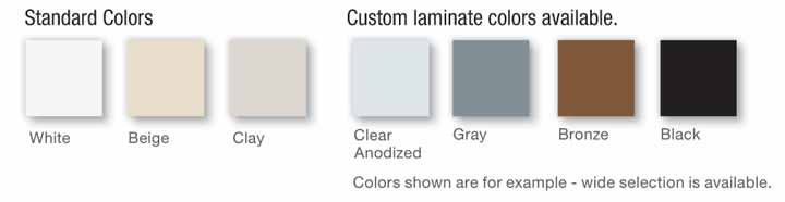 4500 architectural series tilt-turn fixed window color chart